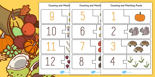 Autumn Themed Counting Puzzle - seasons, weather, count, maths
