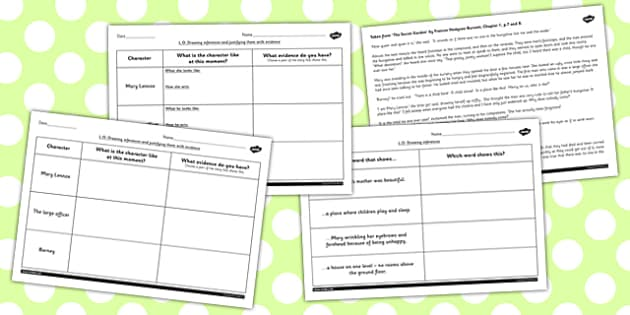Secret Garden Inferences Activity Sheets secret worksheet – Inference Worksheets Middle School