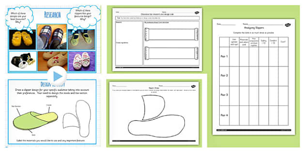 Slipper Project Research and Design Teaching Pack - DT, slippers