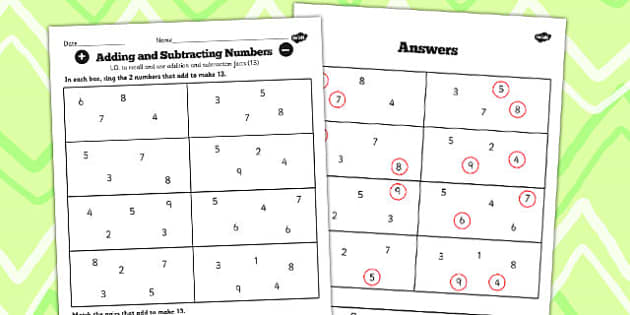 Number Facts to 20 Find Pairs to 13 Worksheet - number, facts