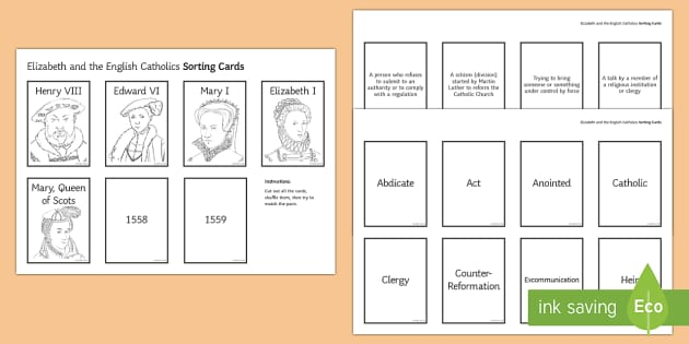 Elizabeth and the English Catholics Sorting Cards - Elizabethan Religious Settlement, Catholics, plots, rebellion, overthrow, Mary, Queen of Scots, refo