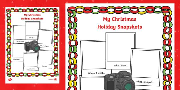 Christmas Holiday Snapshots Writing Frame - christmas, holiday