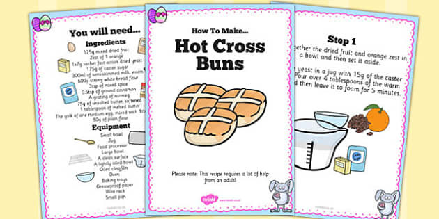 Hot Cross Bun Recipe Cards - hot cross bun, recipe, cards, bake