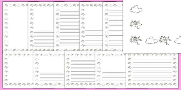Pegasus Themed Page Borders - pegasus, page borders, fantasy, imagination, writing frames, wing, horse