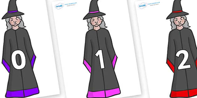 Numbers 0-50 on Witches - 0-50, foundation stage numeracy, Number recognition, Number flashcards, counting, number frieze, Display numbers, number posters