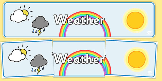 Weather Display Banner - Weather display, KS1, display banner, Weather, weather chart, weather display, date display, rain, sun, snow, fog, cloud