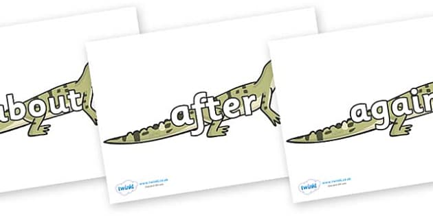 KS1 Keywords on Aligators - KS1, CLL, Communication language and literacy, Display, Key words, high frequency words, foundation stage literacy, DfES Letters and Sounds, Letters and Sounds, spelling