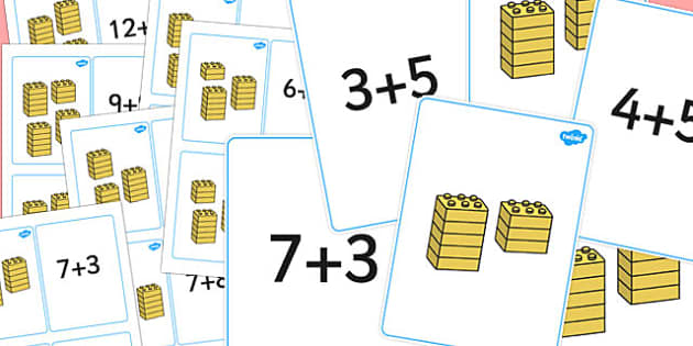Building Block Addition Matching Cards - adding, add, matching cards, maths
