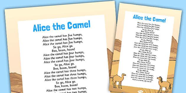 Alice the Camel Nursery Rhyme Poster - rhymes, poem, display