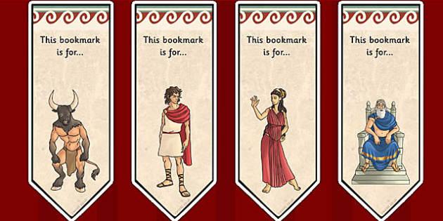 Theseus and the Minotaur Editable Bookmarks - book mark, books