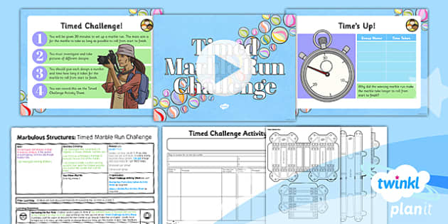 PlanIt - DT UKS2 - Marbulous Structures Lesson 4: Timed Marble Run Challenge Lesson Pack - existing products