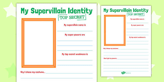 Supervillain Transition Writing Frame - supervillain, transition