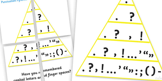 Large Display Punctuation Pyramid - Punctuation, VCOP, pyramid, writing aid, writing aids, ellipsis, comma, brackets, semicolon, colon,  full stop, capital letter, foundation stage literacy, letters and sounds, DfES, KS1