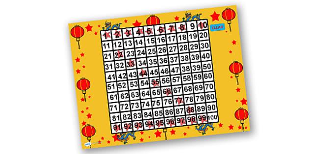 Australia Chinese New Year Math themed PowerPoint Themed 100 Number Square - number square, chinese new year number square, powerpoint, maths