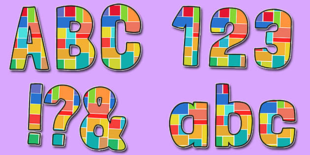 Multicoloured Geometric Squares Patteren Themed Funky Display Lettering - display lettering, display, lettering, funky