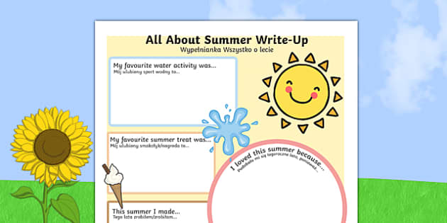 Summer Holiday Write Up Activity Sheet Polish Translation - polish, seasons, holidays, terms, worksheet