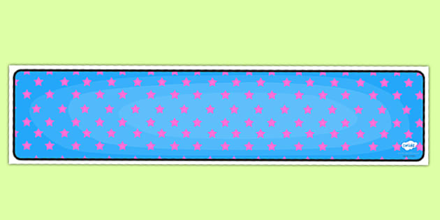 Blue with Pink Stars Editable Display Banner - blue, pink, display, banner, display banner, display header, themed banner, editable banner, editable