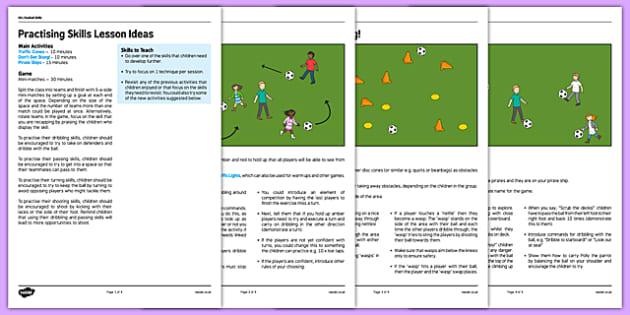 KS1 Football Skills 5 Practising Skills Lesson Pack - football, PE, sport, exercise, KS1, year 1, year 2, skills, physical education, ball skills, team sports