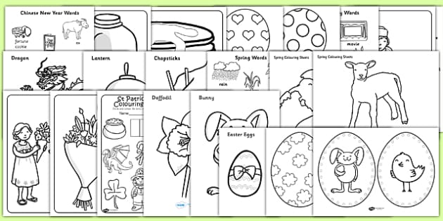 Bumper Spring Term Festivals Colouring Activity Booklet - colour