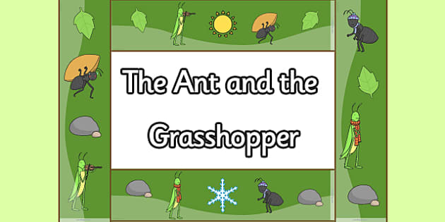 The Ant and the Grasshopper Display Borders - ant, grasshopper