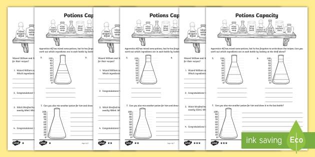 KS2 Potions Capacity Activity Sheet Pack - potions, capacity, activity, sheets, worksheet