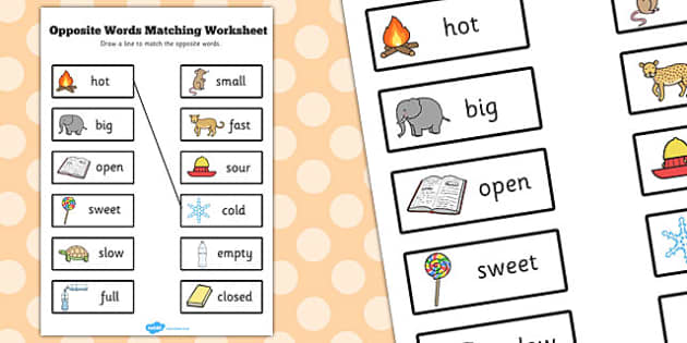 Opposite Words Matching Worksheet - opposite words, matching