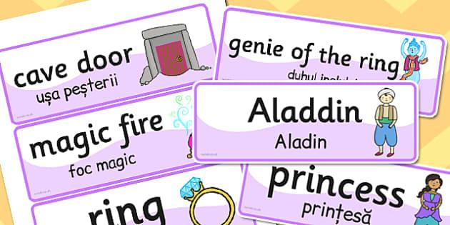Aladdin Word Cards EAL Romanian Translation - romanian, aladdin