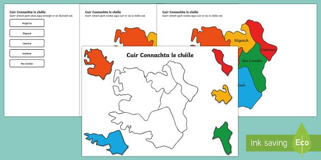 Cuir Éire le Chéile: Connachta Jigsaw Puzzle Activity Sheets Gaeilge