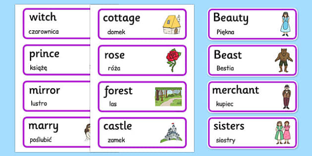 Beauty and the Beast Word Cards Polish Translation - polish, beauty and the beast, word cards