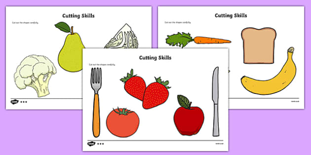 Healthy Food Themed Cutting Skills Sheets - healthy food, cutting skills, cut, skill