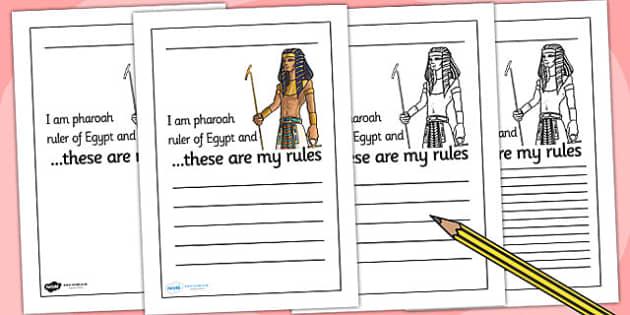 Pharoah Rules Writing Frame - pharoah, egypt, writing, write