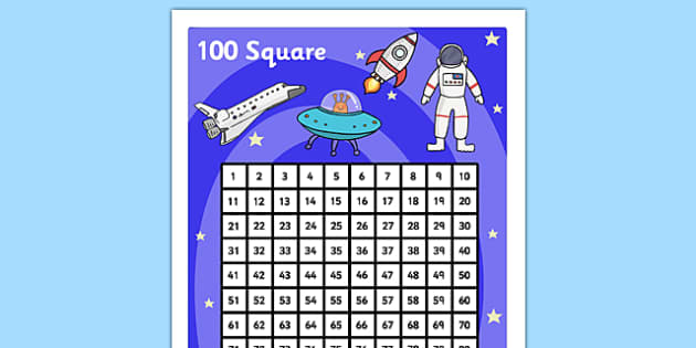 Space Themed 100 Number Square - number square, number, square, numeracy, maths, space, themed, space theme, outer space, stars, moon, sun, math, numbers, counting on, counting back, poster, number poster, handy poster, numeracy, numbers, counting, 1