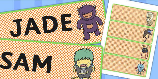 Monster Themed Drawer Peg Name Labels - monster, name, labels