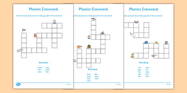 Phase 2 and 3 Phonics Crossword - phonics, crossword, activity, phonics crossword