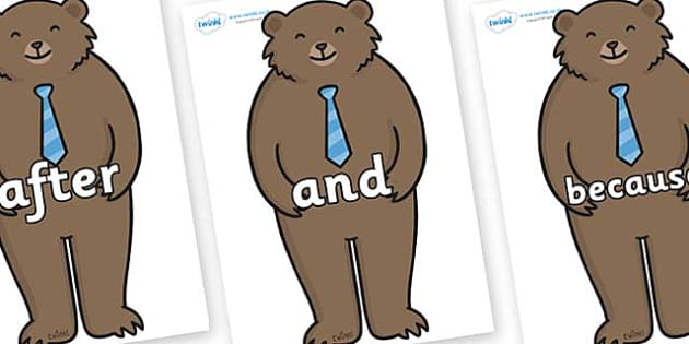 Connectives on Daddy Bear - Connectives, VCOP, connective resources, connectives display words, connective displays
