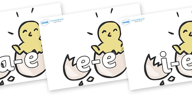 Modifying E Letters on Hatching Chicks - Modifying E, letters, modify, Phase 5, Phase five, alternative spellings for phonemes, DfES letters and Sounds