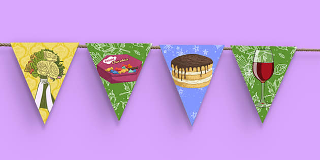 80th Birthday Party Picture Bunting - 80th birthday party, 80th birthday, birthday party, picture bunting