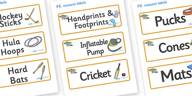 Safari Themed Editable PE Resource Labels - Themed PE label, PE equipment, PE, physical education, PE cupboard, PE, physical development, quoits, cones, bats, balls, Resource Label, Editable Labels, KS1 Labels, Foundation Labels, Foundation Stage Lab