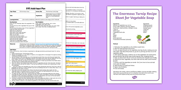 EYFS The Enormous Turnip Soup Adult Input Plan and Resource Pack