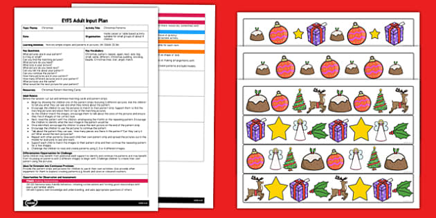Christmas Patterns EYFS Adult Input Plan and Resource Pack