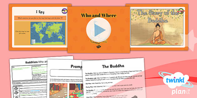 PlanIt - RE Year 4 - Buddhism Lesson 1: Who and Where Lesson Pack - buddhist, Buddha, India, monk, meditation