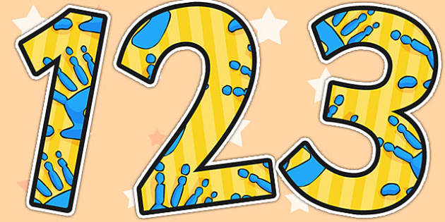 A4 Blue and Yellow Handprint Themed Display Numbers - numbers