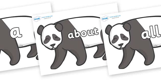 100 High Frequency Words on Pandas - High frequency words, hfw, DfES Letters and Sounds, Letters and Sounds, display words