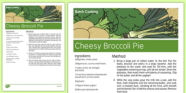 Batch Cooking Cheesy Broccoli Pie - cooking, meals, wellbeing, health, pastoral, support, recipe, make, food, dinner