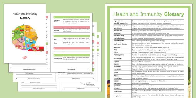 Health and Immunity Glossary - Glossary, health, balanced diet, vaccination, fats, fibre,  haemoglobin.