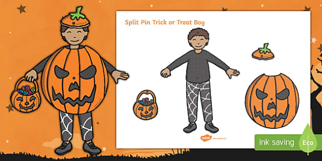 Split Pin Trick Or Treat Boy Activity