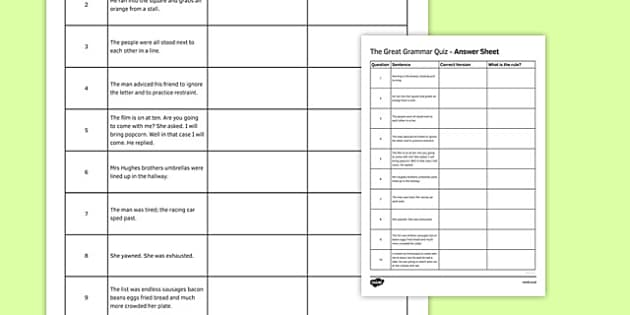 The Great Grammar Quiz Answer Sheet - great grammar quiz, answer sheet