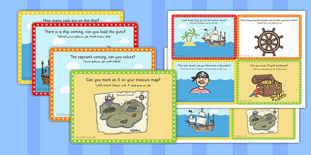 Challenge Cards Pirate Ship Arabic Translation - arabic, pirate