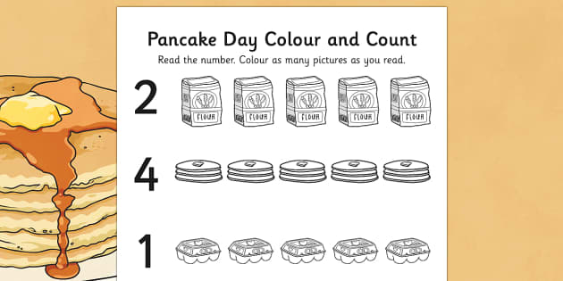 Pancake Day Themed Count and Colour Sheet - pancake, day, count