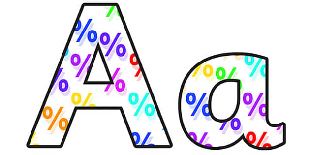 Percentages Lowercase Display Lettering - percentages, percentages display lettering, percentages display letters, percentages alphabet lettering, percent